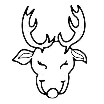 Tête de cerf de noël marron avec contour de style doodle