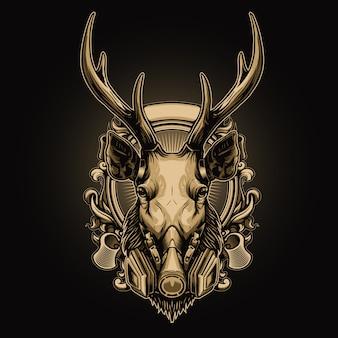 Tête de cerf portant un masque à gaz avec illustration de fond ornement