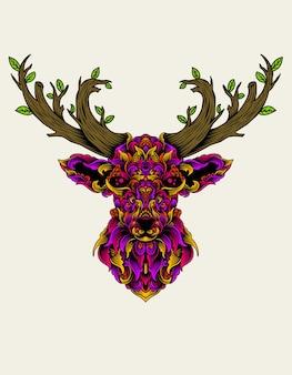 Tête de cerf avec un style d'ornement coloré