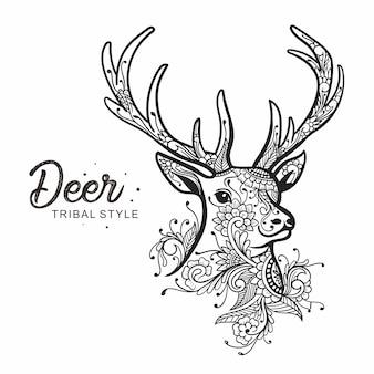 Tête de cerf style tribal dessiné à la main