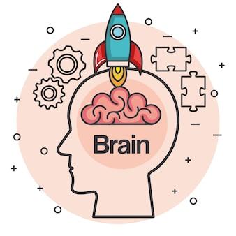 Tête avec cerveau de fusée pense idée illustration vectorielle de concept