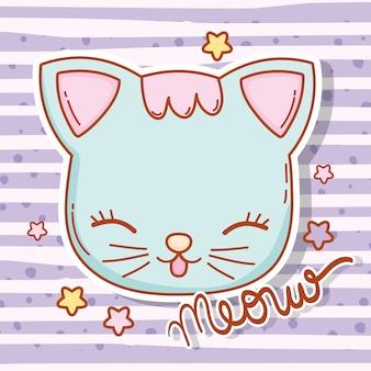 Tête de chat animal avec cheveux et étoiles