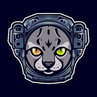Tête de chat avec casque d'astronaute