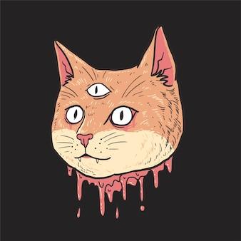 Tête de chat coupé mignon