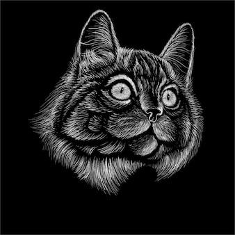 Tête de chat dessin à la main