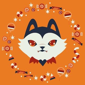 Tête de chat d'halloween déguisée en personnage de citrouille