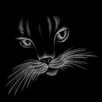 La tête de chat en style dessiné
