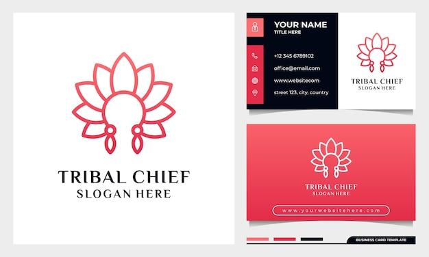 Tête de chef tribal avec concept de feuille de fleur, fleur élégante minimaliste, salon de beauté de luxe, mode, soins de la peau, cosmétique, yoga et création de logo spa