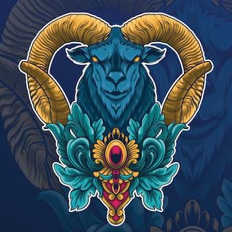 Tête de chèvre à cornes en colère colorée