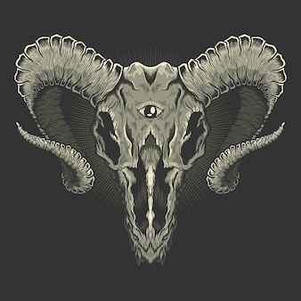 Tête de chèvre crâne baphomet illustration