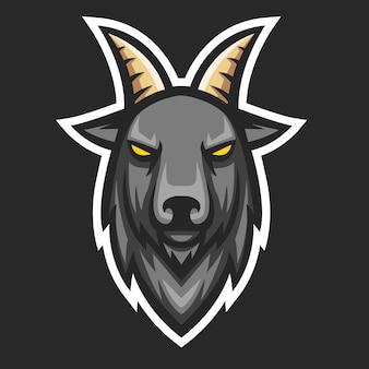 Tête de chèvre mascotte logo esport vecteur