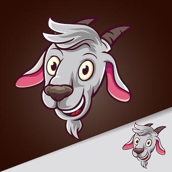 Tête de chèvre sourire mascotte dessin animé