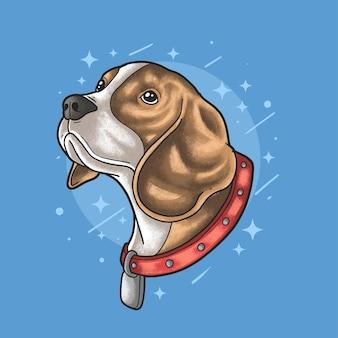 Tête de chien beagle illustration vecteur style grunge