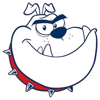 Tête de chien bouledogue en colère mascotte personnage couleur monochrome.