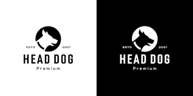 Tête de chien cercle logo espace négatif