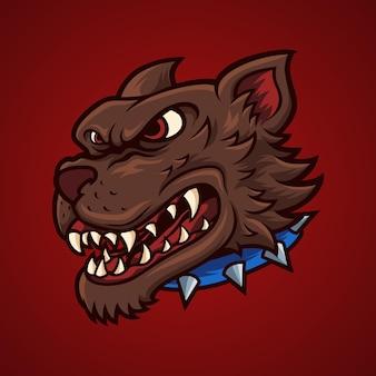 Tête de chien en colère