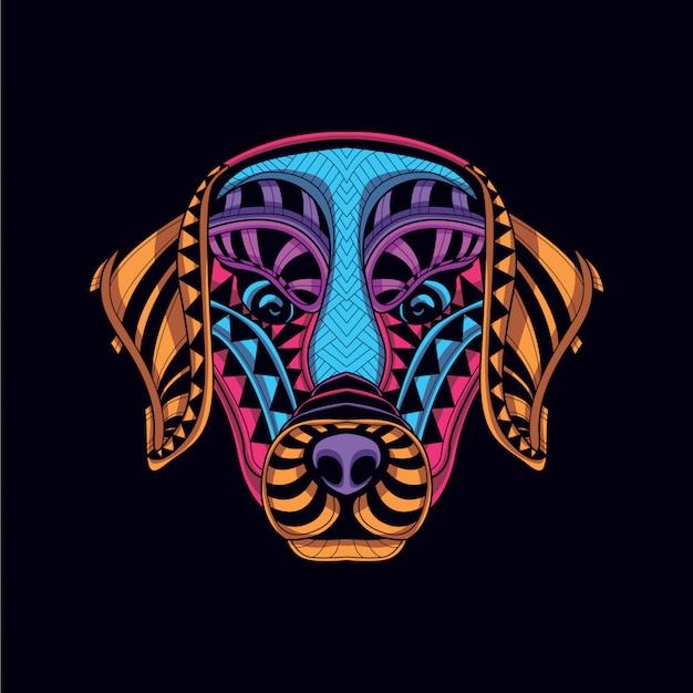Tête de chien décorative de couleur néon lueur