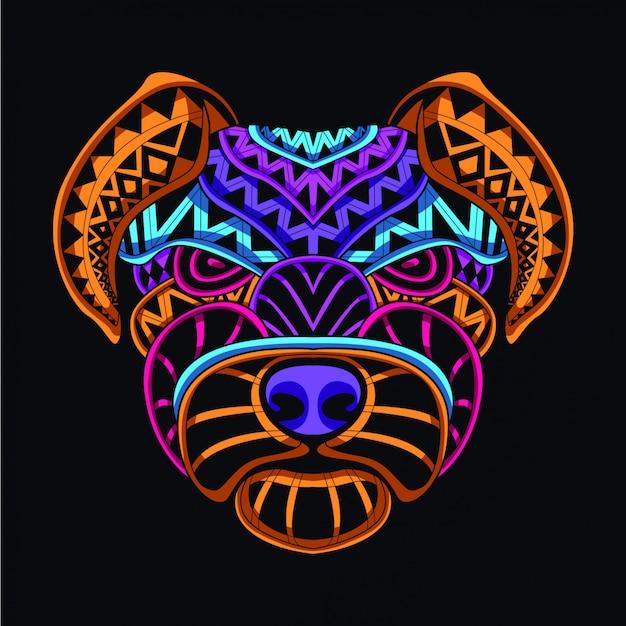 Tête de chien décorative de couleur néon