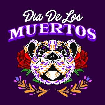 Tête de chien décorative jour des morts mexique illustration