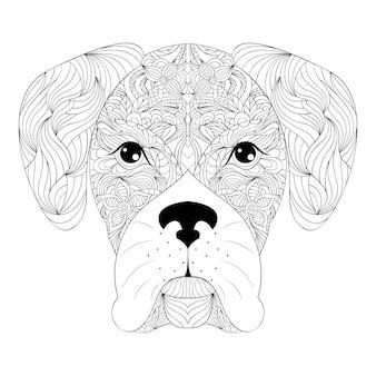 Tête de chien sur fond blanc