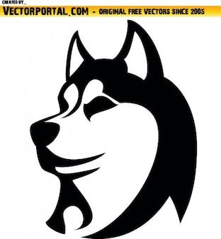 Tête de chien husky