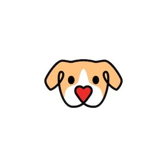 Tête chien avec icône du logo forme amour nez