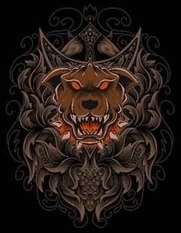Tête de chien illustration avec ornement de gravure