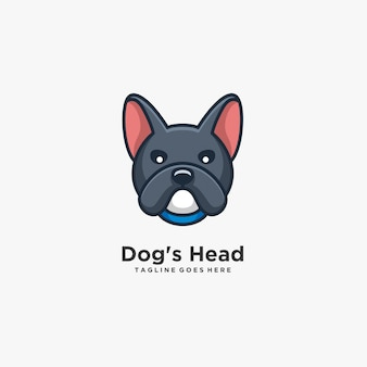 Tête de chien mignon pose illustration logo