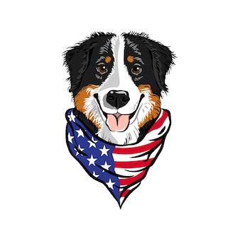 Tête de chien de montagne bernois portant bandana drapeau américain