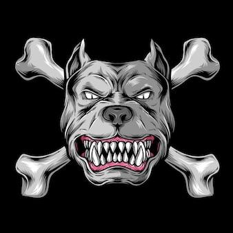 Tête de chien avec os