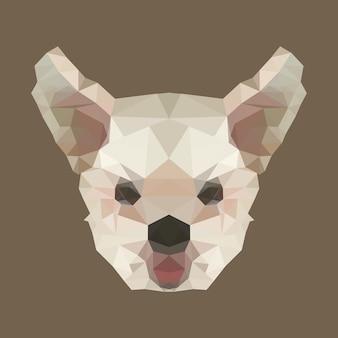 Tête de chien polygone. poly faible animal. polygonale isolé