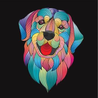 Tête de chien retriever doré stylisé coloré