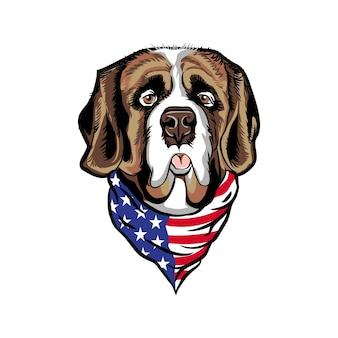 Tête de chien saint bernard portant bandana drapeau américain