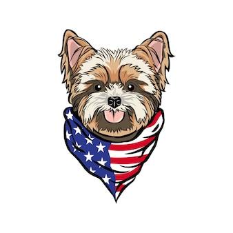 Tête de chien yorkshire terrier portant un bandana de cou drapeau américain