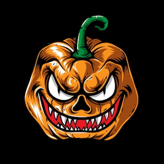 Tête de citrouille d'halloween monstre