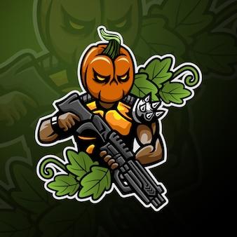 Tête de citrouille soldat logo gaming esport