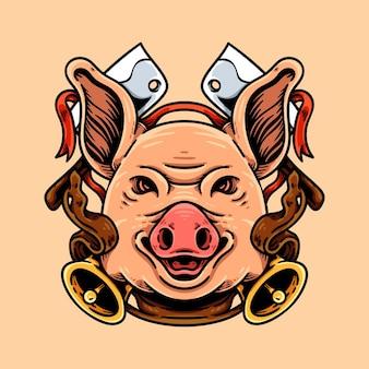 Tête de cochon et couteau de boucher