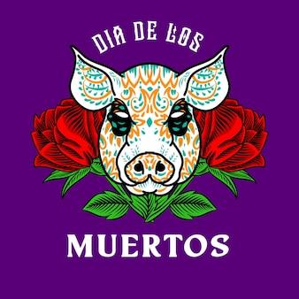 Tête de cochon décorative jour des morts mexique illustration