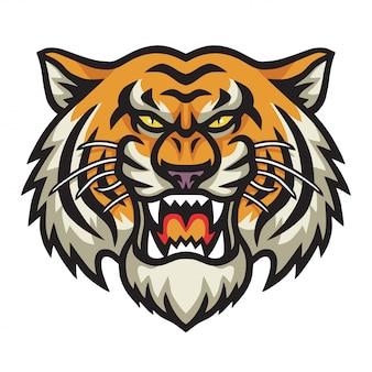 Tête en colère tiger cool vector logo