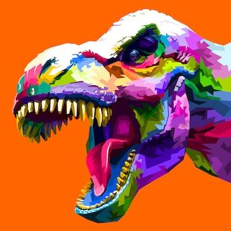 Tête colorée tyrannosaure rex