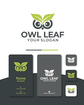 Tête de conception de logo de feuille de hibou nature verte pour le sauvetage d'animaux et le zoo