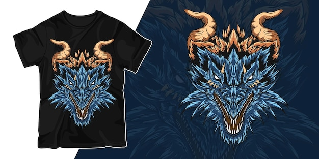Tête de la conception de t-shirt illustration illustration de dragon