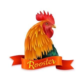 Tête de coq rouge profil image colorée