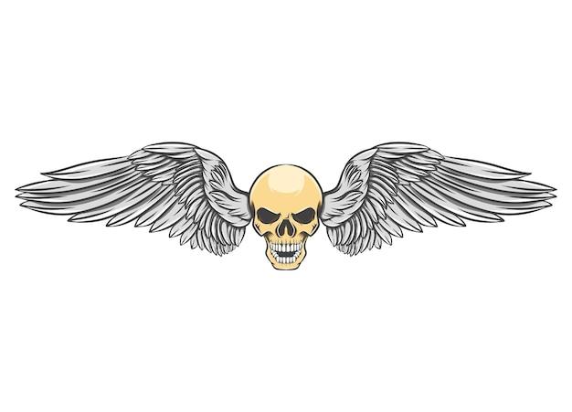 Tête de crâne avec les ailes fringantes