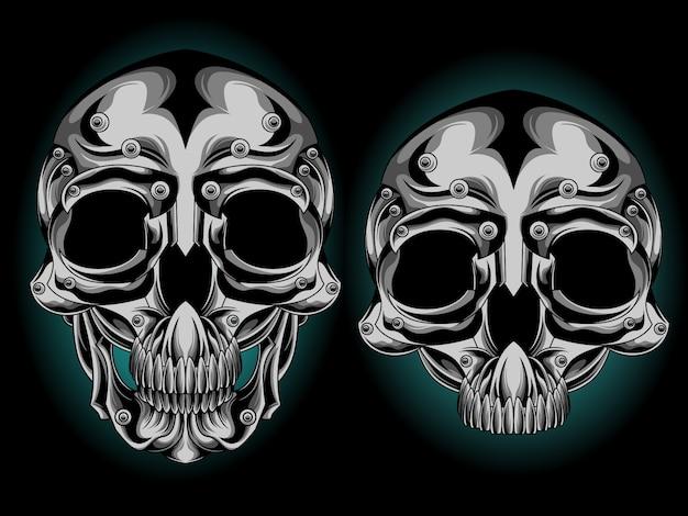 Tête de crâne d'argent