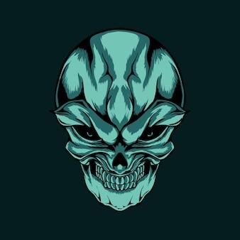 La tête de crâne bleue