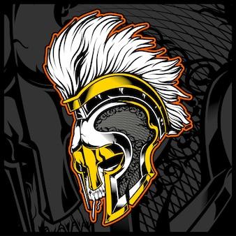 Tête de crâne avec casque gladiateur