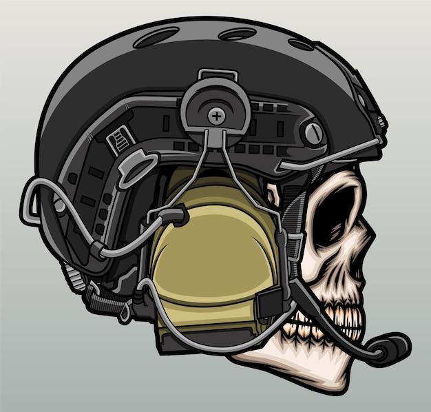 Tête de crâne avec casque militaire.