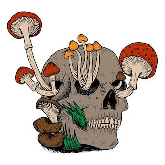 Tête de crâne de champignon dessiné à la main