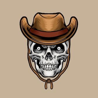 Tête de crâne avec chapeau de cowboy